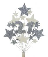 Number age 21st birthday cake topper decoration in silver and white - free postage